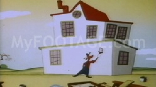1950's Cartoon - Dog painting windows and doors on house