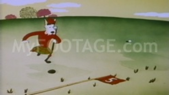 1950's Cartoon - White dog playing golf