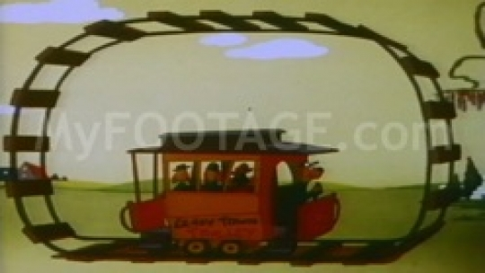 1950's CARTOON Crazy Town Trolly