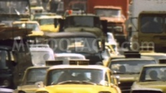 1970s City Traffic Vintage Cars, Cabs, Movie Marquees
