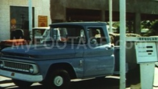 1971 Chevy Pickup Truck at Gas Pump