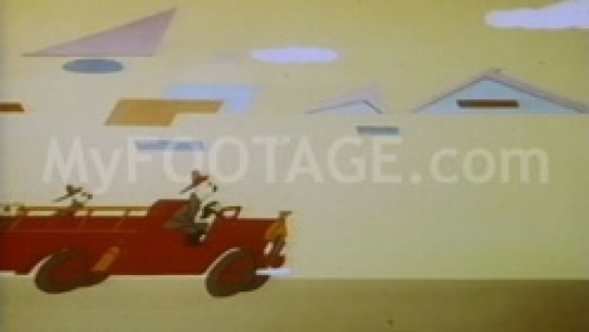Vintage cartoon dogs rush along in fire trucks