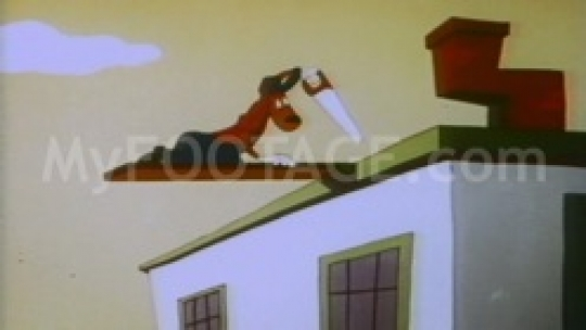 1950's CARTOON - Dog Building a house that then crumbles