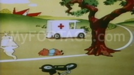 1950's CARTOON - Pig on a Motorcycle crashes